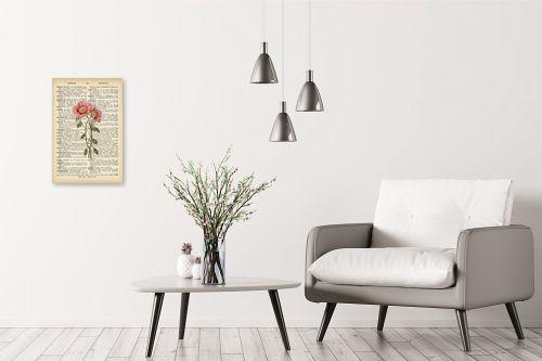 תמונה לבית - Artpicked - זוג פרחים רטרו על טקסט - מק''ט: 330426