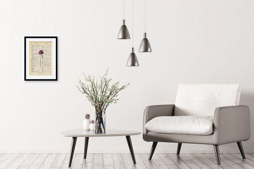 תמונה לבית - Artpicked - פרח מחייך סגול רטרו טקסט - מק''ט: 330429