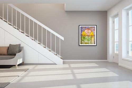 תמונה לחדר מדרגות - חיה וייט - חלון ירושלמי צבעוני - מק''ט: 213114