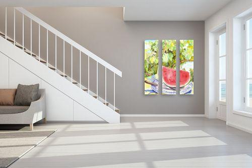 תמונה לחדר מדרגות - חיה וייט - אבטיח על צלחת - מק''ט: 213202
