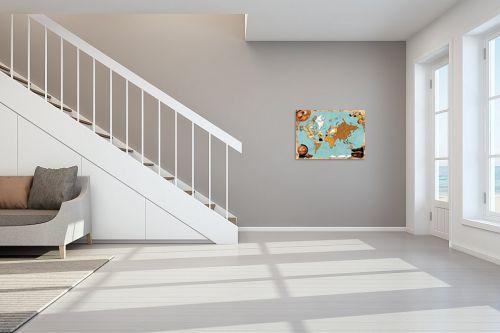 תמונה לחדר מדרגות - מפות העולם - Pirates map - מק''ט: 240814