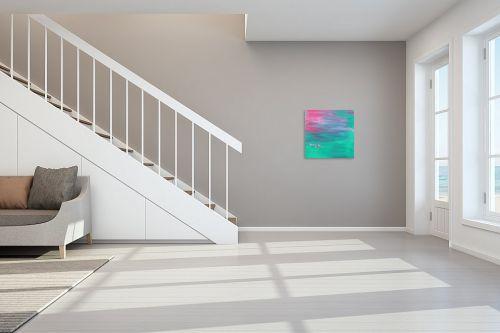 תמונה לחדר מדרגות - ורד אופיר - ירוק ורוד - מק''ט: 255291