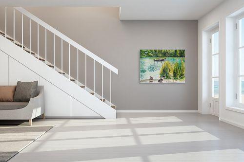 תמונה לחדר מדרגות - חיה וייט - 2 ברווזים וסירה - מק''ט: 308650
