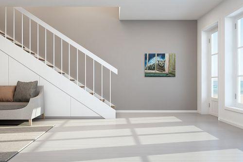 תמונה לחדר מדרגות - דיאנה אורן - חתולה בחלוני - מק''ט: 315861