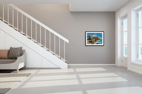 תמונה לחדר מדרגות - דיאנה אורן - סלעים  בים - מק''ט: 316286