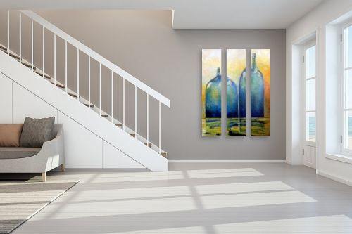 תמונה לחדר מדרגות - מריאנה קיידלוב - בקבוקים כחולים - מק''ט: 319428