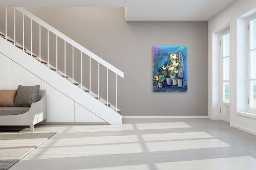 תמונה לחדר מדרגות - חני שפר - קקטוסים עם פרחים - מק''ט: 325523