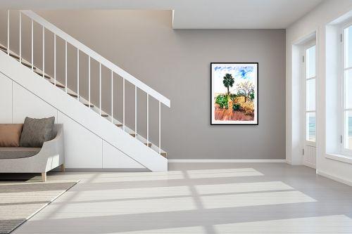 תמונה לחדר מדרגות - חיה וייט - עין כרם עם כלב - מק''ט: 326103