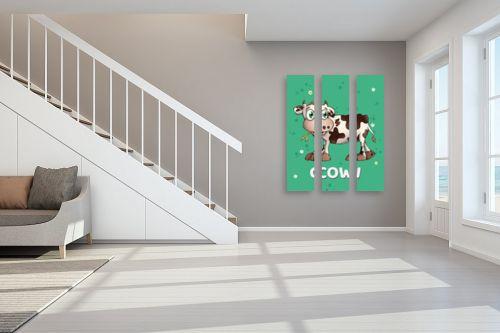 תמונה לחדר מדרגות - חנן אביסף - פרה חמודה על רקע ירוק - מק''ט: 326519