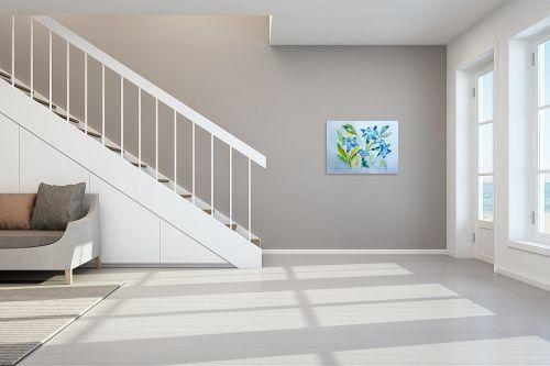 תמונה לחדר מדרגות - רינה יניב - פרחים בכחול - מק''ט: 327826