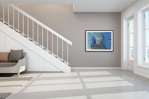 תמונה לחדר מדרגות - אורי ברוך - סמטה בכחול - מק''ט: 328011