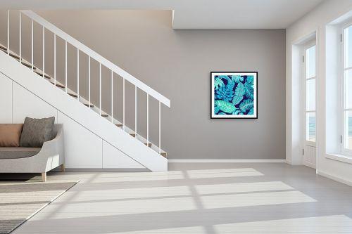 תמונה לחדר מדרגות - Artpicked - עלים בכחול - מק''ט: 329674
