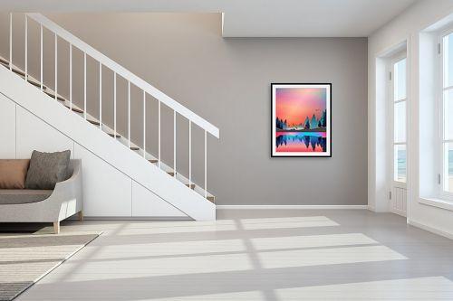 תמונה לחדר מדרגות - Artpicked - איילים בחלום - מק''ט: 329679