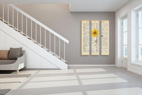 תמונה לחדר מדרגות - Artpicked - חמניה רטרו על טקסט - מק''ט: 330047