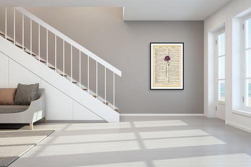 תמונה לחדר מדרגות - Artpicked - פרח מחייך סגול רטרו טקסט - מק''ט: 330429