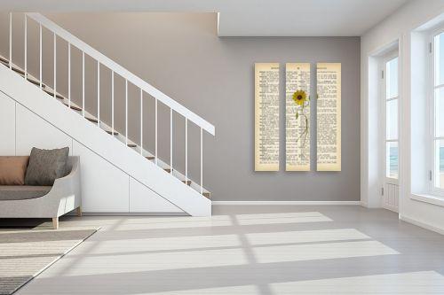 תמונה לחדר מדרגות - Artpicked - חמנייה רוקדת רטרו על טקסט - מק''ט: 330430