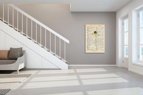 תמונה לחדר מדרגות - Artpicked - פרח צהוב מחייך רטרו טקסט - מק''ט: 330431