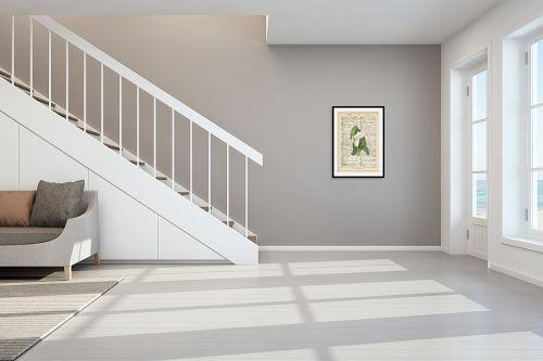 תמונה לחדר מדרגות - Artpicked - פרח לבן ירוק רטרו על טקסט - מק''ט: 330440