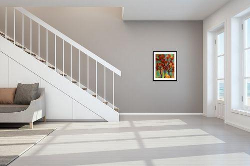 תמונה לחדר מדרגות - אסתר חן-ברזילי - תפרחת אדומה - מק''ט: 332313