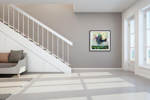 תמונה לחדר מדרגות - Artpicked - יונה עם עלה זית - מק''ט: 334718