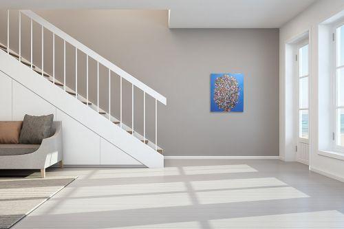 תמונה לחדר מדרגות - חיים מחט - פרחים קוביסטים - מק''ט: 336569