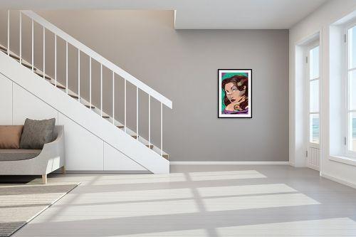 תמונה לחדר מדרגות - חנן אביסף - נערה עם קעקוע דרקון ירוק - מק''ט: 51692