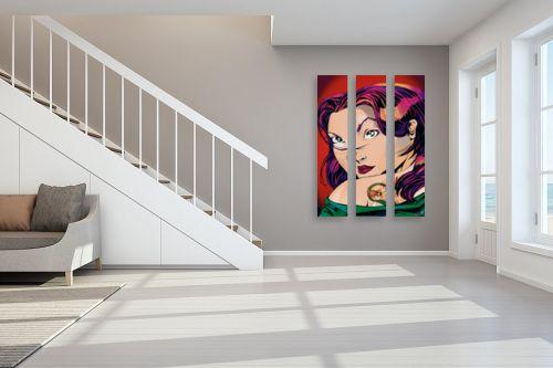 תמונה לחדר מדרגות - חנן אביסף - נערה עם קעקוע דרקון ירוק - מק''ט: 51786