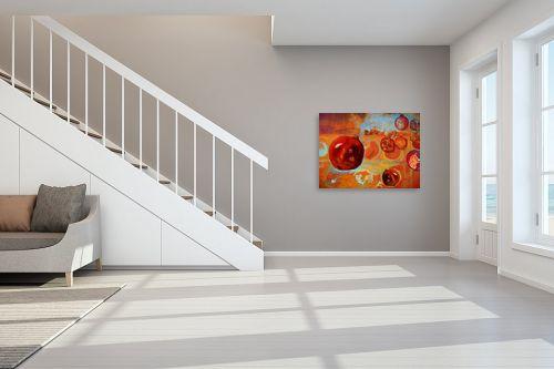 תמונה לחדר מדרגות - נעמי פוקס משעול - רימונים בכתום וזהב - מק''ט: 64310