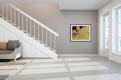 תמונה לחדר מדרגות - יונה ראובני - ברבור בשיחים זהובים - מק''ט: 70190