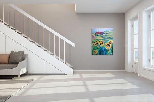 תמונה לחדר מדרגות - רינה יניב - חמניות בחווה - מק''ט: 80506
