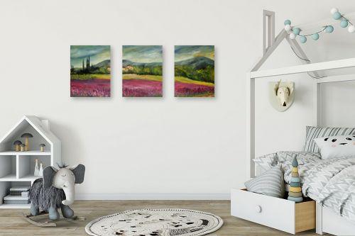 תמונה לחדר ילדים - רוחלה פליישר - שדה פרחים בוורוד - מק''ט: 174263