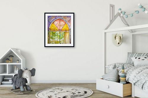 תמונה לחדר ילדים - חיה וייט - חלון ירושלמי צבעוני - מק''ט: 213114