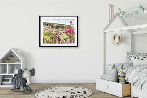 תמונה לחדר ילדים - חיה וייט - פרח בוגונויליה עם נוף - מק''ט: 213191