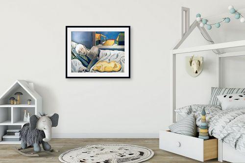 תמונה לחדר ילדים - MMB Art Studio - A Man and a Dog resting  - מק''ט: 223196