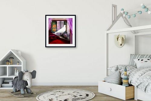 תמונה לחדר ילדים - נריה איטקין - יונה לבנה בחלון - מק''ט: 229845