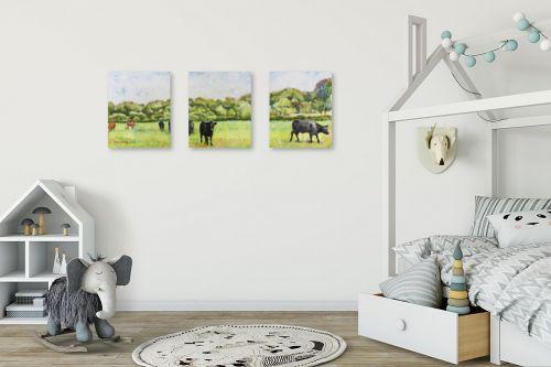 תמונה לחדר ילדים - חיה וייט - פרות במרעה - מק''ט: 234258
