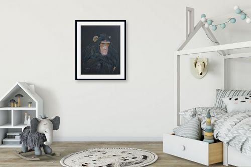 תמונה לחדר ילדים - נריה ספיר - שימפנזה מהורהר - מק''ט: 259589