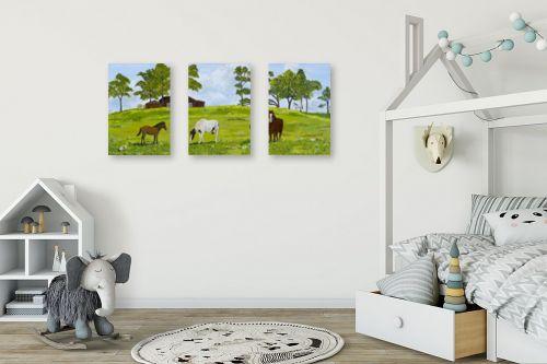 תמונה לחדר ילדים - נריה ספיר - סוסים באחו - מק''ט: 284498