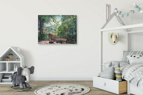 תמונה לחדר ילדים - חיה וייט - ספסל אבן - מק''ט: 304453