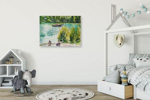 תמונה לחדר ילדים - חיה וייט - 2 ברווזים וסירה - מק''ט: 308650