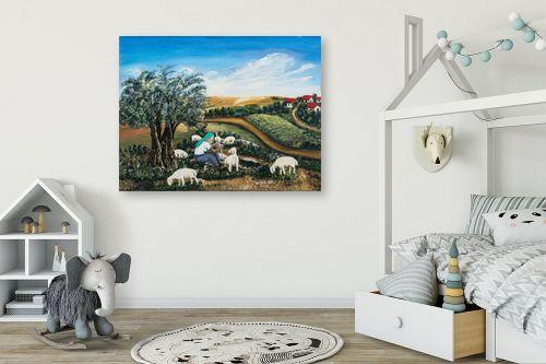 תמונה לחדר ילדים - מזל בוכריס - כבשים בגליל - מק''ט: 316448