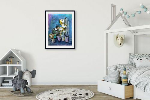 תמונה לחדר ילדים - חני שפר - קקטוסים עם פרחים - מק''ט: 325523