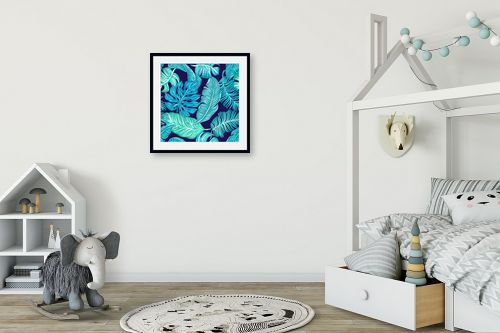 תמונה לחדר ילדים - Artpicked - עלים בכחול - מק''ט: 329674