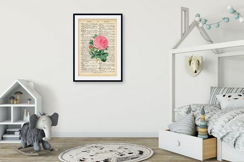 תמונה לחדר ילדים - Artpicked - ורד רטרו על טקסט - מק''ט: 330184