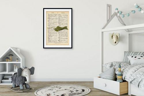 תמונה לחדר ילדים - Artpicked - עלה ירוק רטרו על טקסט - מק''ט: 330255