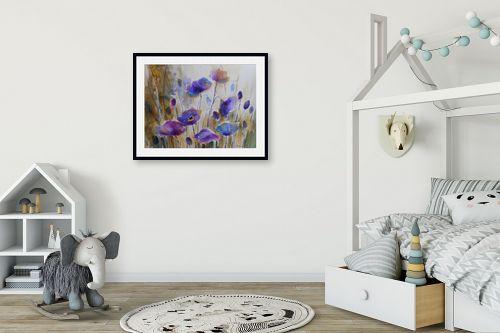 תמונה לחדר ילדים - נטליה ברברניק - שדה כחול - מק''ט: 330389
