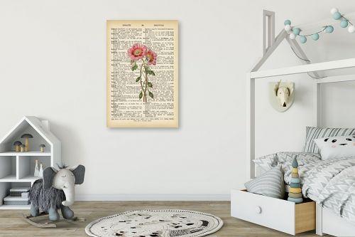 תמונה לחדר ילדים - Artpicked - זוג פרחים רטרו על טקסט - מק''ט: 330426