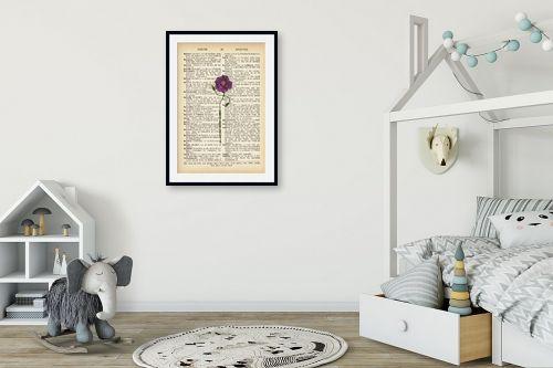תמונה לחדר ילדים - Artpicked - פרח מחייך סגול רטרו טקסט - מק''ט: 330429