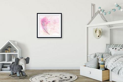 תמונה לחדר ילדים - Artpicked - נוצה ורודה - מק''ט: 332540
