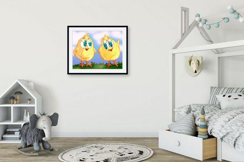 תמונה לחדר ילדים - חנן אביסף - שני אפרוחים צהובים - מק''ט: 53173